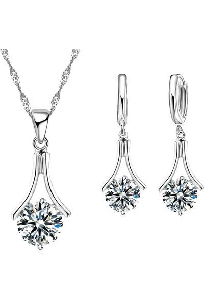 Enes Store Gümüş Zirkon Taşlı Bayan Kolye Küpe Set Gümüş Set