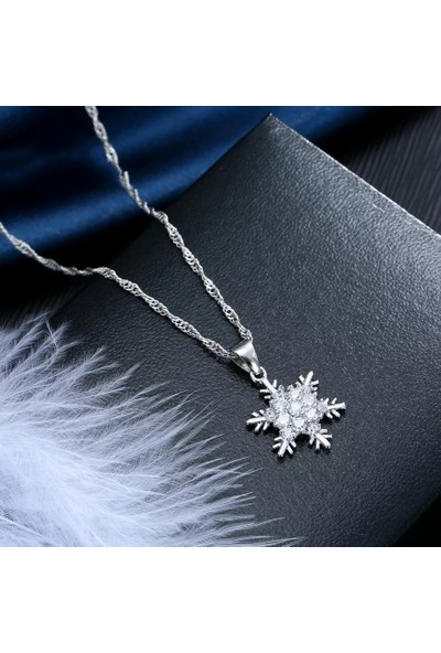 Enes Store Gümüş Kar Tanesi Kolye Küpe Set Gümüş Kolye Set