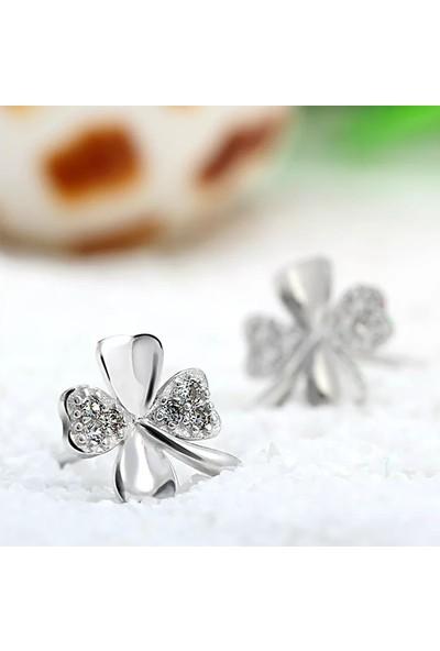 Enes Store Gümüş 4 Yaprak Yonca Bayan Gümüş Küpe