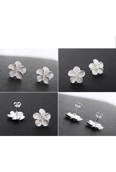 Enes Store Gümüş Küpe Çiçek Taşlı Bayan Gümüş Küpe