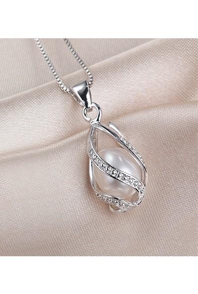Enes Store Gümüş Doğal İnci Bayan Kolye