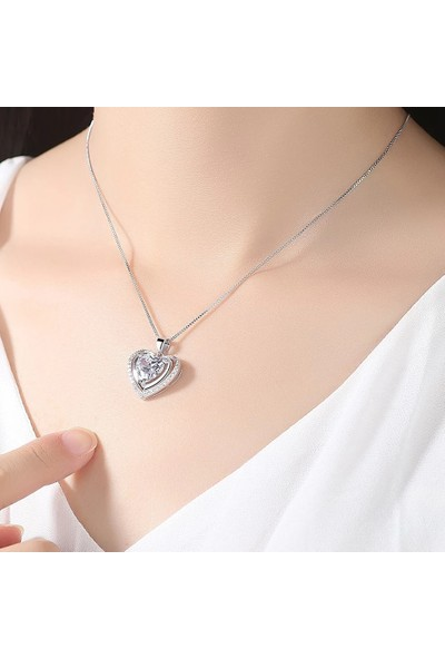 Enes Store Gümüş Çift Kalp Zirkon Taş Bayan Gümüş Kolye Sevgiliye Hediye