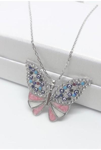 Enes Store 925 Ayar Gümüş Mineli Kelebek Gümüş Kolye