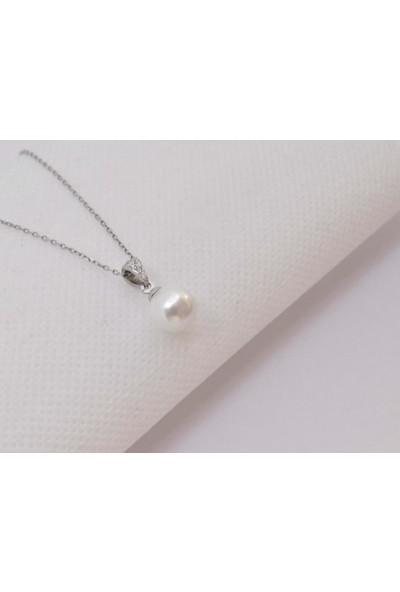 Enes Store 925 Ayar Gümüş Doğal İnci Bayan Gümüş Kolye Sevgiliye Hediye