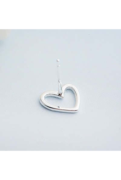 Enes Store Gümüş Kalp Küpe 925 Ayar Bayan Gümüş Küpe Hediyelik