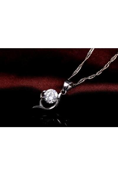 Enes Store Gümüş Zirkon Taşlı Bayan Kolye Küpe Set Gümüş Takı Seti