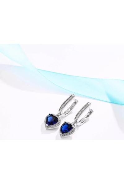 Enes Store Gümüş Mavi Zirkon Taşlı Kalp Gümüş Bayan Kolye Küpe Set