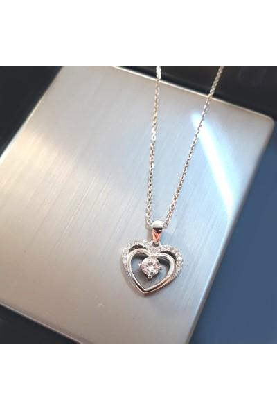 Enes Store Gümüş Çift Kalp Tektaş Bayan Gümüş Kolye