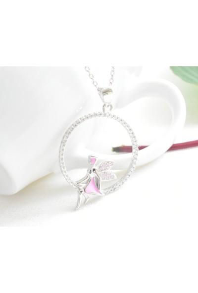 Enes Store Gümüş Pembe Taşlı Oturan Peri Gümüş Kolye Sevgiliye Hediye