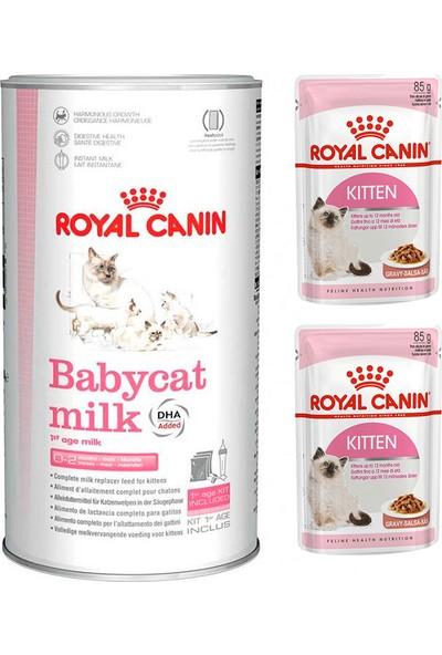 Royal Canin Babycat Milk Yavru Kedi Süt Tozu 300 gr + Royal Canin Kitten Yavru Yaş Kedi Maması 2 Adet