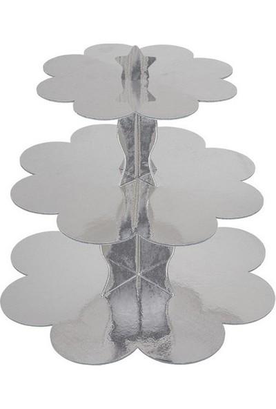 Datapos Gümüş Cupcake Kek Standı