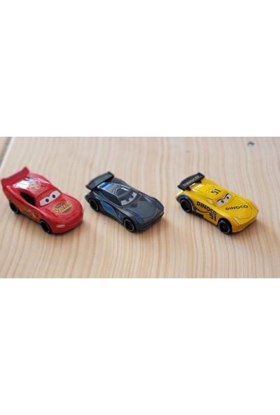 Can Ali Toys Özel 3'lü Set Cars Şimşek Mcqueen Jackson Storm Dinoco Metal Çek Bırak Araba