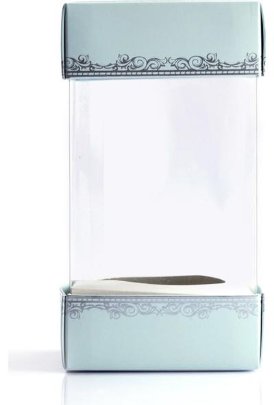 Ambalaj Hikayeleri Alt Üst Karton Kapak 5 Adet Mavi Gümüş Varaklı Arası Asetat Kutu
