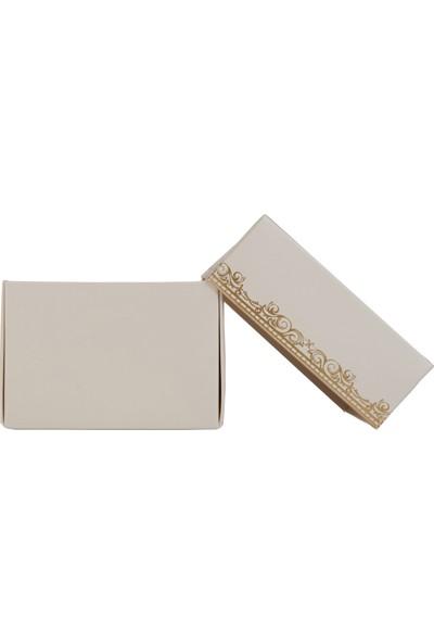 Ambalaj Hikayeleri Karton Kapaklı Kutu 5 Adet Krem Gold Çelenk Varaklı
