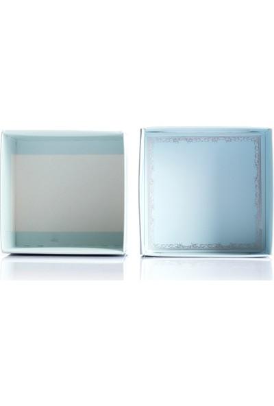 Ambalaj Hikayeleri Karton Kapaklı Kutu 5 Adet Mavi Gümüş Çelenk Varaklı