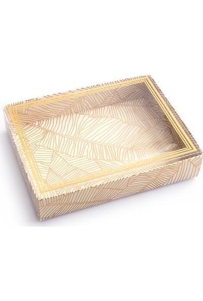 Ambalaj Hikayeleri Yaprak Desen Gold Varaklı Asetat Kapak 5 Adet Karton Kutu