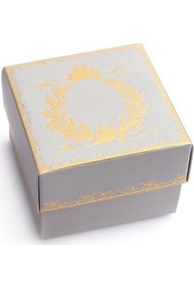Ambalaj Hikayeleri Karton Kapaklı Kutu 5 Adet Gri Gold Çelenk Varaklı