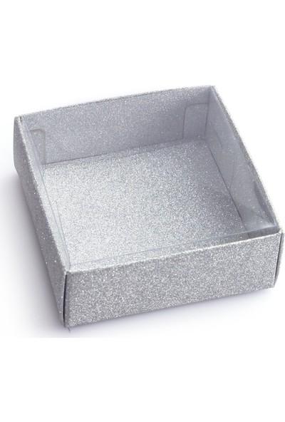 Ambalaj Hikayeleri Asetat Kapaklı Kutu 5 Adet Gümüş Simli Işıltılı