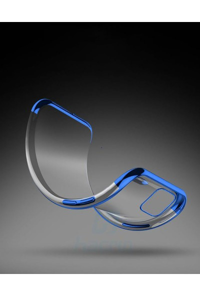 Coverzone LG K50S Kılıf Dört Köşeli Lazer Şeffaf Silikon Reverse Gümüş + Nano Glass