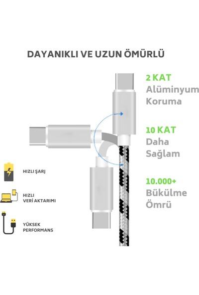 MEAN TYPE C Android Samsung USB Hızlı Data Örgülü Şarj Kablosu TEKLİ PAKET 1 Metre
