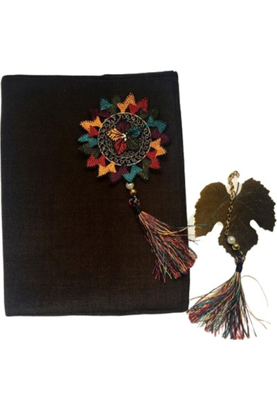 1SE2GE Handmade Ipek Renkli Iğne Oyası Kitap Kılıfı