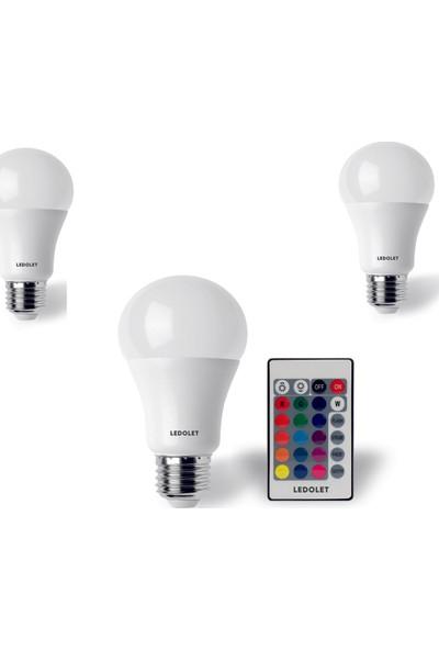 Ledolet Rgb LED Ampul 9 W E27 Duy Dımmerlı Uzaktan Kumandalı 3'lü