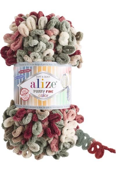 Clk Tekstil 5 Adet Alize Puffy Fine Color El Örgü Ipi Ipliği Renk Kodu 6039