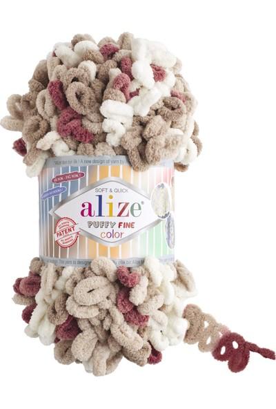 Clk Tekstil 5 Adet Alize Puffy Fine Color El Örgü Ipi Ipliği Renk Kodu 6040