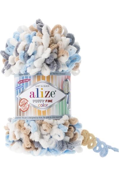 Clk Tekstil 5 Adet Alize Puffy Fine Color El Örgü Ipi Ipliği Renk Kodu 5946