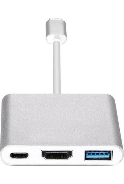 Orite Multifunction 3in1 Type-C To USB 3.0 HDMI Dönüştürücü Adaptör - Gümüş