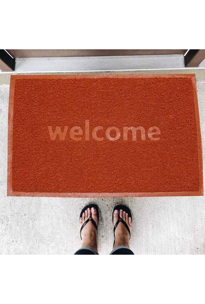 Büyük Boy Welcome Baskılı Kıvırcık Kapı Önü Paspası