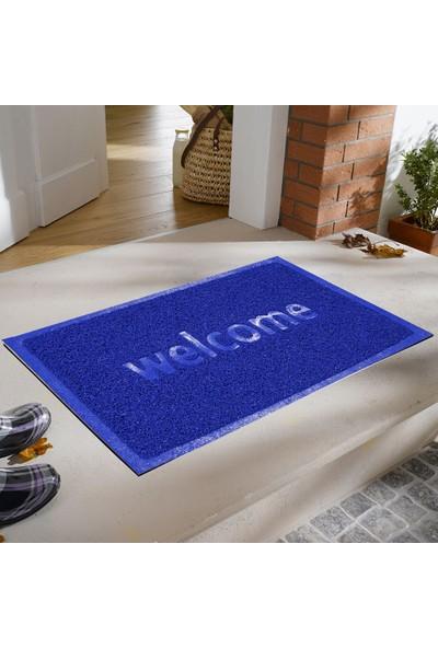 My Floor Welcome Baskılı Kıvırcık Kapı Önü Paspası Boncuk Mavi