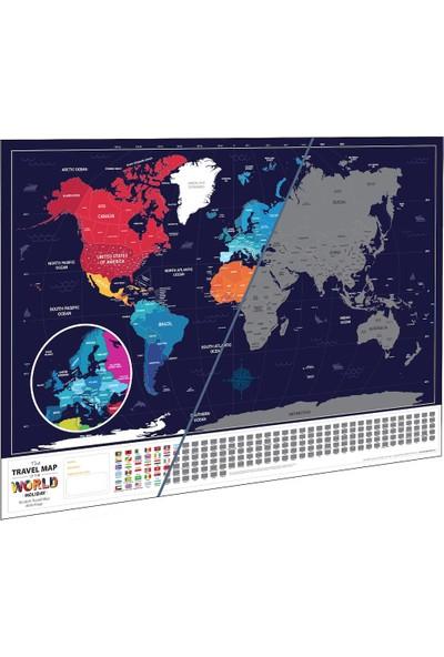 Scratch Map Eyaletli Bayraklı Kazınabilir Dünya Haritası