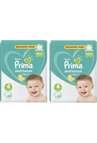 Prima Aktif Bebek Ekonomik Paket 4 Numara 40x2=80 Adet Bebek Bezi