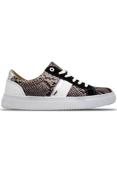 Ebru Şallı Yılan Desenli Siyah 36 Numara Sneaker