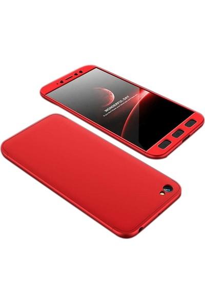 Case Street Xiaomi RedMi Y1 Lite Kılıf Ays 3 Parçalı Full Koruma + Nano + Kalem Kırmızı
