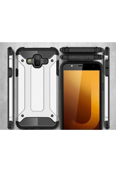 Case Street Samsung Galaxy J7 Duo Kılıf Crash Tank Koruma + Nano + Kalem Gümüş