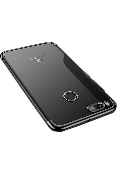 Case Street Xiaomi Mi A1 Kılıf Colored Silicone Lazer Kapak + Nano + Kalem Siyah