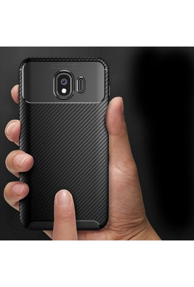 Case Street Samsung Galaxy J4 Kılıf Negro Karbon Dizayn Silikon + Nano + Kalem Lacivert