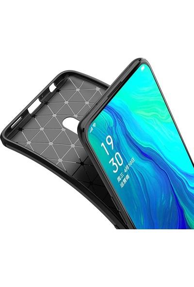 Case Street Oppo Reno 2 Kılıf Negro Karbon Dizayn Silikon + Nano Glass Lacivert