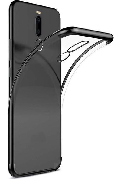 Case Street Meizu Note 8 Kılıf Colored Silicone Yumuşak + Nano Glass Siyah
