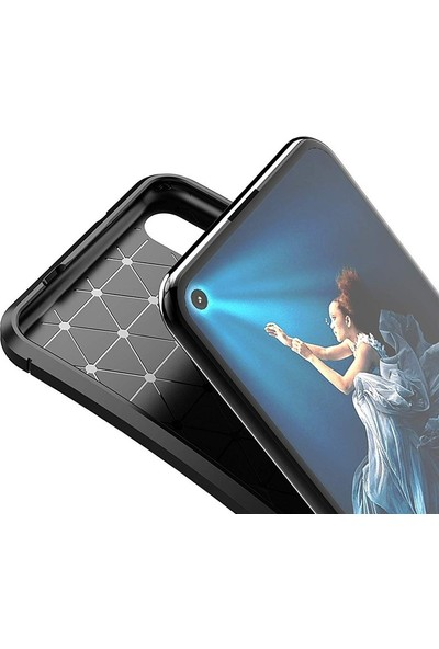 Case Street Huawei Honor 20 Kılıf Negro Karbon Dizayn Silikon + Nano Glass Lacivert