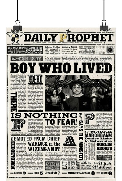 13 Poster Harry Potter Daily Prophet Gazetesi Boy Who Lived Manşetli 100 x 70 cm Posteri