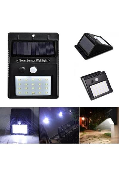 Mobee Güneş Enerjili Duvara Monte Hareket Sensörlü 20 LED Bahçe Balkon Dış Mekan Lambası