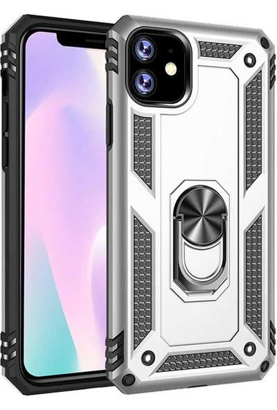 BizimGross Apple iPhone 11 Kılıf Kamera Korumalı Zırh Iron Telefon Kılıfı Gri