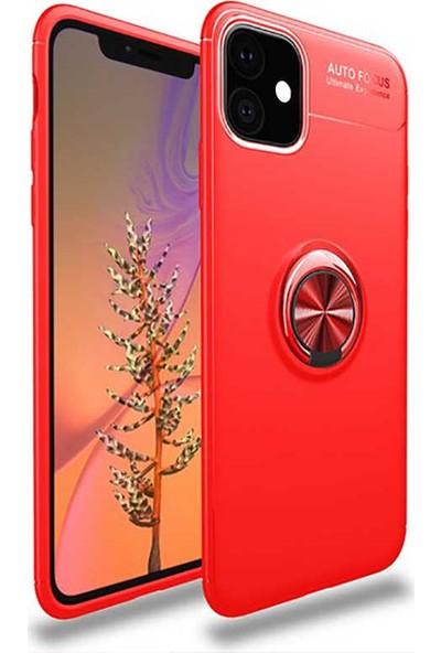 BizimGross Apple iPhone 11 Kılıf Yüzüklü Mıknatıslı Tank Ultron Telefon Kılıfı Kırmızı