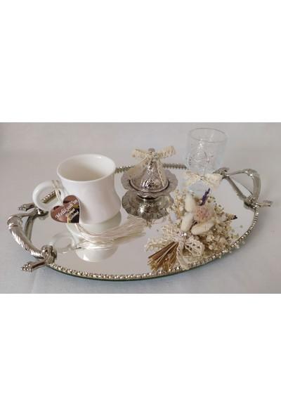 Naciden Gümüş Oval Damat Fincanı Seti Damat Kahvesi
