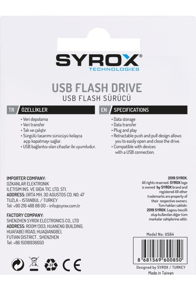Syrox 64GB USB Bellek