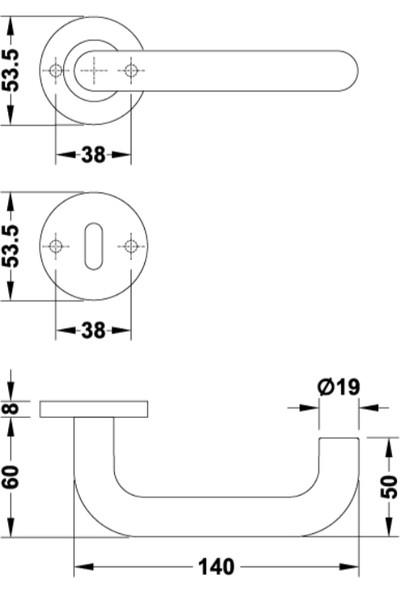 Hafele Roland Kapı Kolu Barelli Tipi Paslanmaz Çelik Mat