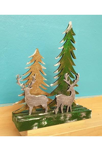 Markakanvas Dekoratif YeniYıl Yılbaşı Çam ağacı Geyik Süsü